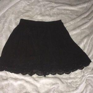 Black Aeropostale skirt with lace trim.